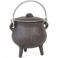 7cm Cast Iron Cauldron With Pentagram