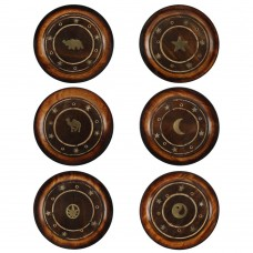 Mango wood round plate incense ashcatcher with inlaid gold brass design.